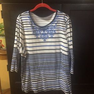 3X Blue Striped Blouse